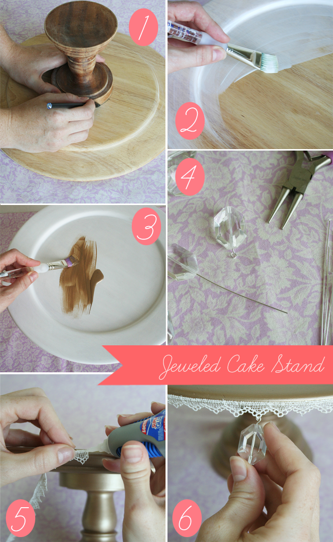 Diy Jeweled Cake Stand A Giveaway Glamour Grace
