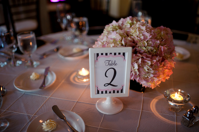 pink and black centerpiece