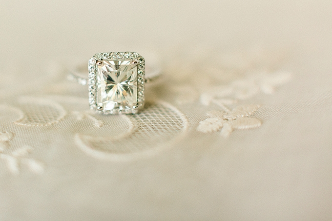 enter to win this 4.30ctw Radiant Cut Forever Brilliant® Moissanite Halo Ring on Glamour & Grace