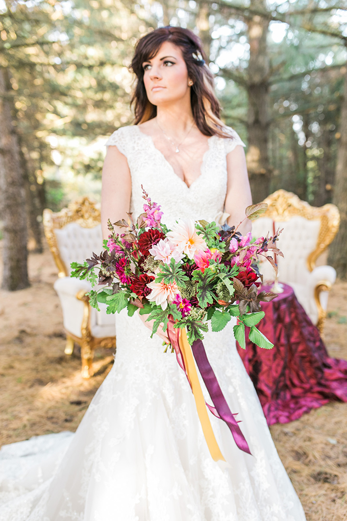 Glam Cranberry And Gold Wedding Inspiration Glamour Amp Grace
